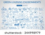 green learning environment with ... | Shutterstock .eps vector #344998979