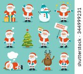 collection of christmas santa... | Shutterstock .eps vector #344999231