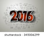 2016 business conceptual... | Shutterstock .eps vector #345006299