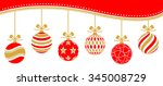 christmas baubles vector red... | Shutterstock .eps vector #345008729