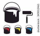 paint bucket set and paint... | Shutterstock .eps vector #345012461