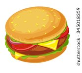 hamburger with meat  lettuce ... | Shutterstock .eps vector #345018359