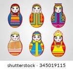 matryoshka dolls in different... | Shutterstock .eps vector #345019115