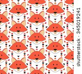 cute fox seamless pattern.... | Shutterstock .eps vector #345019241