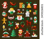 set of christmas and happy new... | Shutterstock .eps vector #345026831