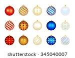 set of color xmas balls.... | Shutterstock .eps vector #345040007