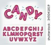 candy pink 3d alphabet font... | Shutterstock .eps vector #345041819