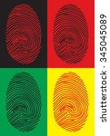 colored fingerprints on... | Shutterstock .eps vector #345045089