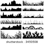 Selection of vector foreground silhouettes and skylines - stock vector