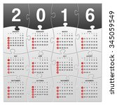 16 elements puzle calendar 2015 ... | Shutterstock .eps vector #345059549