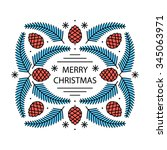 merry christmas greeting card... | Shutterstock .eps vector #345063971