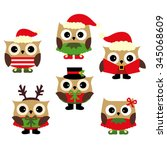 christmas owls vector. | Shutterstock .eps vector #345068609