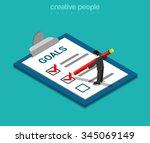 goals checklist flat 3d... | Shutterstock .eps vector #345069149