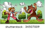 hunter and wolf | Shutterstock .eps vector #34507009