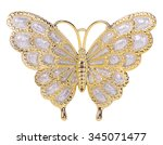gold butterfly decoration... | Shutterstock . vector #345071477