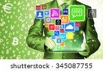 business man using tablet pc... | Shutterstock . vector #345087755