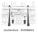 entrance door of european... | Shutterstock .eps vector #345088061