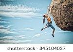 Female Rock Climber Struggles...