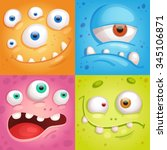 cartoon monster faces | Shutterstock .eps vector #345106871