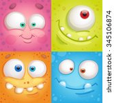 cartoon monster faces | Shutterstock .eps vector #345106874
