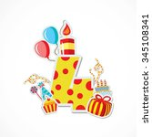 happy forth birthday... | Shutterstock .eps vector #345108341