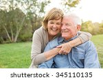 happy senior mature couple in... | Shutterstock . vector #345110135