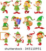 illustration of many elfs... | Shutterstock .eps vector #345110951