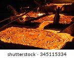 pouring liquid titanium slag...   Shutterstock . vector #345115334