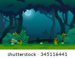 Night In Forest  Vector Art An...