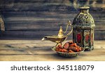 ramadan lamp and dates on... | Shutterstock . vector #345118079