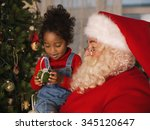 santa claus with child... | Shutterstock . vector #345120647