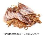 plenty of dried squids on white ... | Shutterstock . vector #345120974