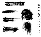 vector set of grunge brush... | Shutterstock .eps vector #345121751