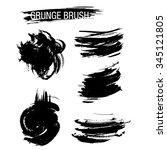 vector set of grunge brush... | Shutterstock .eps vector #345121805