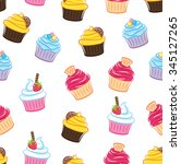 cupcake seamless background | Shutterstock .eps vector #345127265