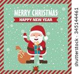 vintage christmas poster design ... | Shutterstock .eps vector #345144461
