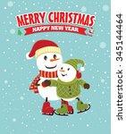 vintage christmas poster design ... | Shutterstock .eps vector #345144464