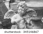 Cupid Statue  Black And White