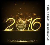 shiny golden text 2016 with... | Shutterstock .eps vector #345147851