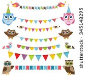 garland and bunting set with... | Shutterstock .eps vector #345148295