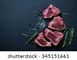 Raw T Bone Lamb Steaks With...
