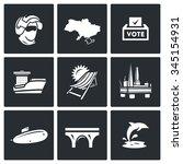 vector set of crimea icons.... | Shutterstock .eps vector #345154931