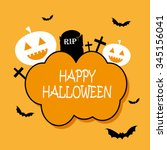 simple happy halloween card... | Shutterstock .eps vector #345156041