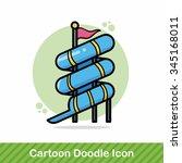 water slide doodle | Shutterstock .eps vector #345168011