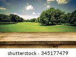 empty wooden deck table with... | Shutterstock . vector #345177479