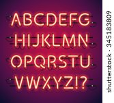 glowing neon bar alphabet used