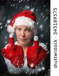 Beautiful Woman In Santa Claus...
