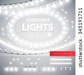 white christmas lights... | Shutterstock .eps vector #345191711