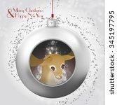 christmas ball with deer  magic ... | Shutterstock .eps vector #345197795