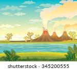 prehistoric landscape   smoking ... | Shutterstock .eps vector #345200555